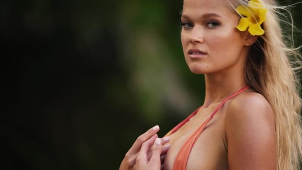 Vita Sidorkina Rocks a Tiny Butterfly Swimsuit in Nevis
