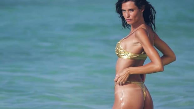 Bianca Balti Golden Goddess in Aruba