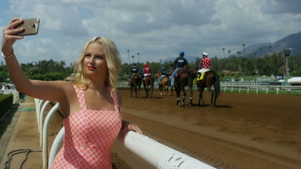 Sexy SI Swimsuit Model Genevieve Morton spends a day at the races
