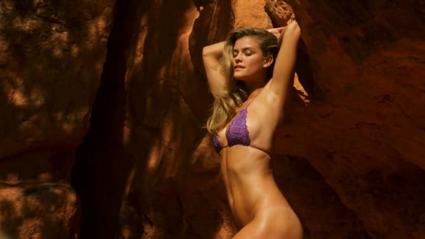 nina agdal goes hiking in a bikini