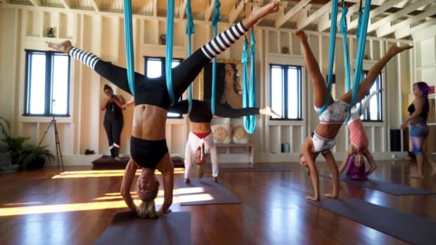 #SISwimSearch finalists try doing aerial yoga