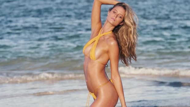 Kate Bock wears the tiniest swimsuits for SI Swimsuit 2018 in Nevis
