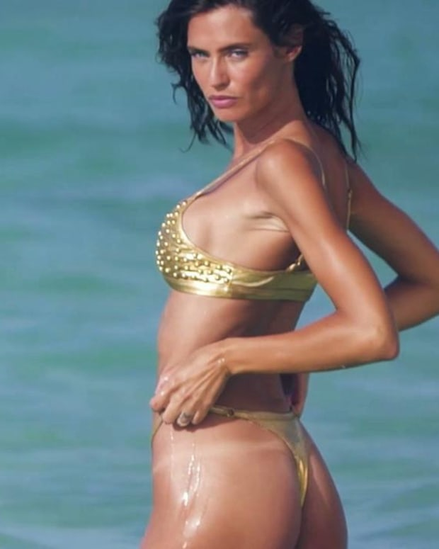 Bianca Balti Golden Goddess in Aruba