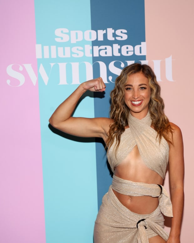 Katie Austin attends the Sports Illustrated Swimsuit celebration of the launch of the 2021 Issue on July 24, 2021 in Hollywood, Florida.