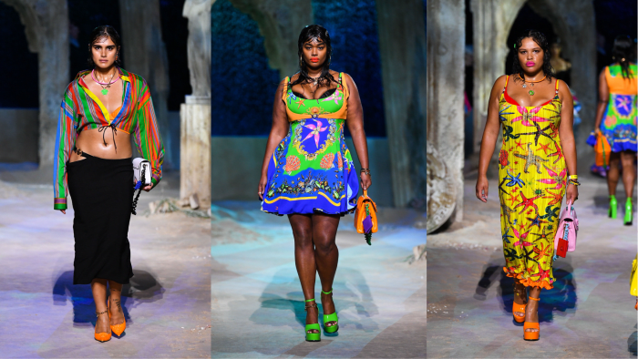 Images courtesy of Versace. Models: Jill Kortleve, Precious Lee, Alva Claire.