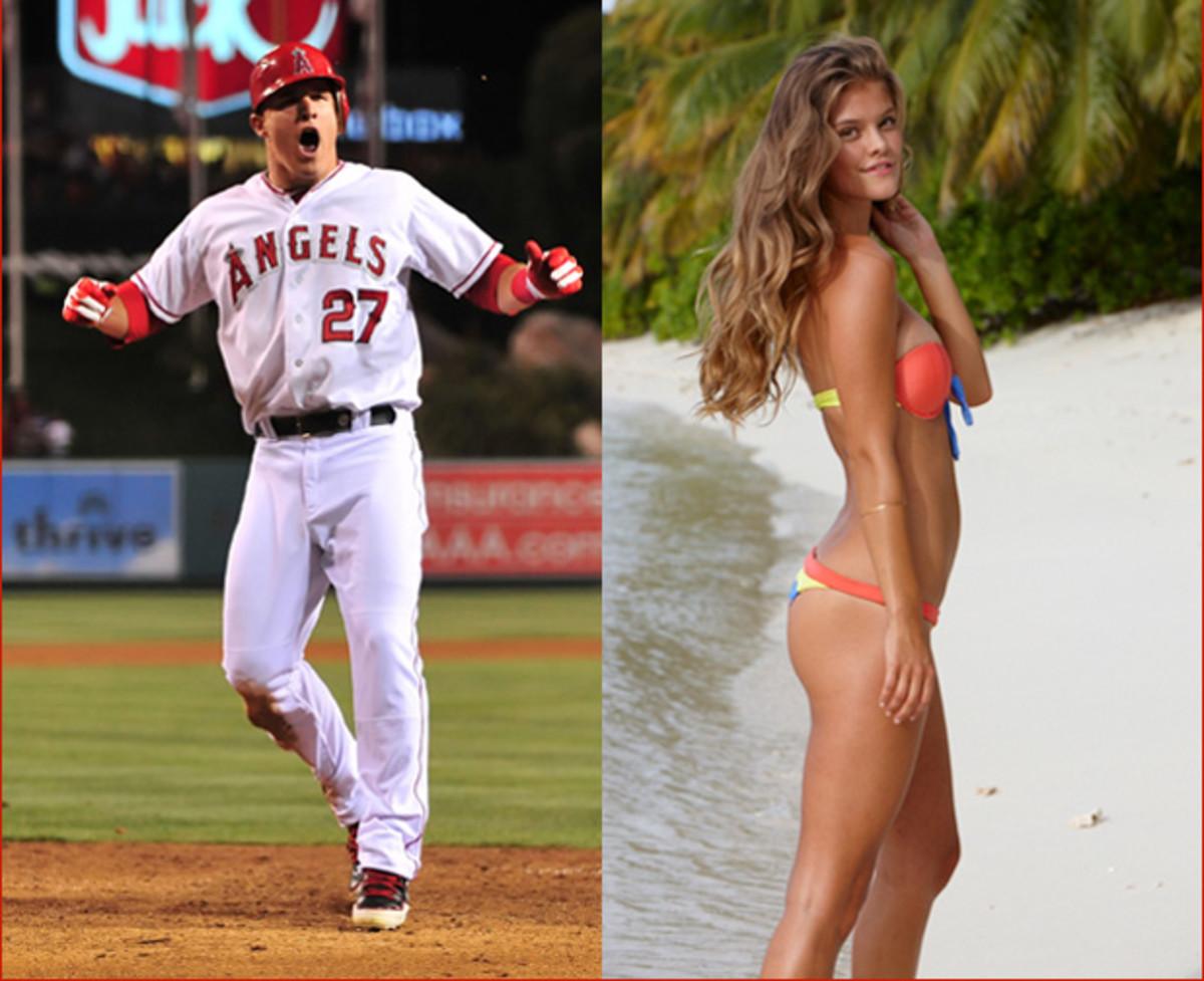 Mike Trout :: Louis Lopez/Cal Sport Media | Nina Agdal :: James Macari/SI