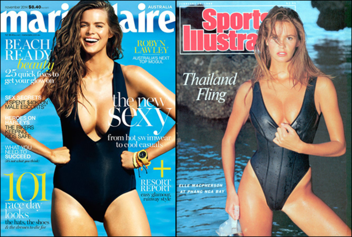 Robyn Lawley on the Nov. 2014 cover of Marie Claire Australia in a nod to Elle's 1988 cover (right)