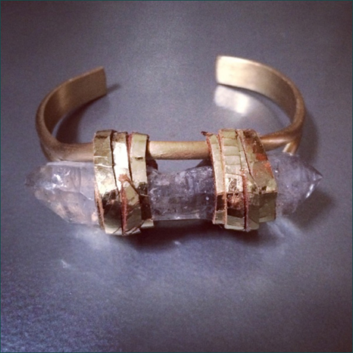Single Flame Cuff with Tibetan quartz crystal