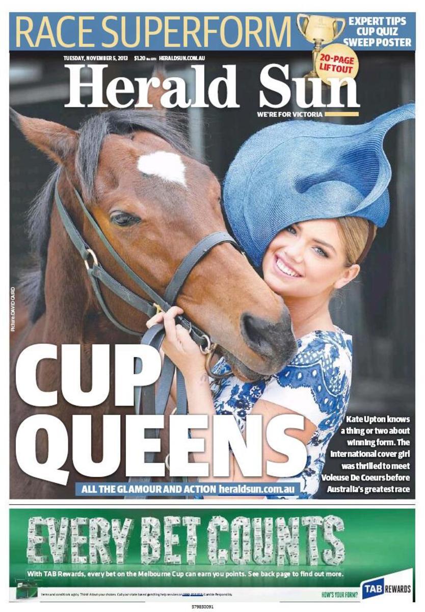 Kate Upton and Cup contender Voleuse de Coeurs :: David Caird/Herald News
