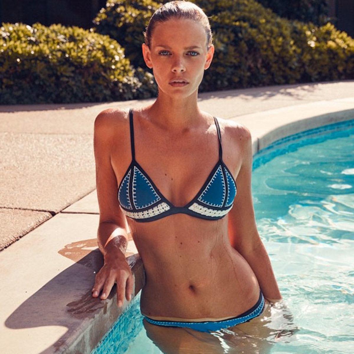 Water Baby: Triangl's Latest Collection The Farrah Crochet + Neoprene Bikini Featuring @marloeshorst wearing 'Hotel California' On Location at Frank Sinatra's House All New Arrivals, Online Now
