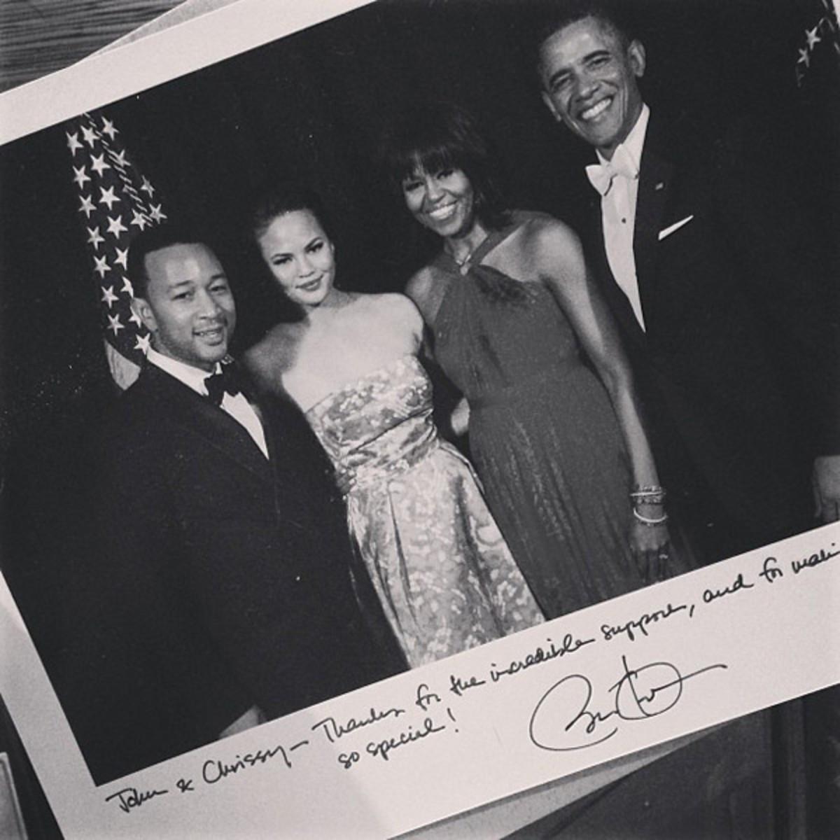 John Legend, Chrissy Teigen, Michelle Obama and Barack Obama :: @chrissyteigen