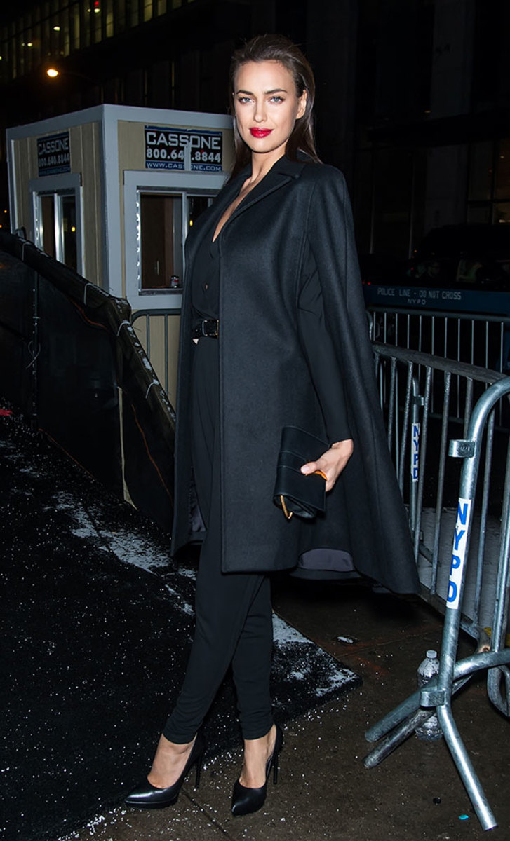 Irina Shayk arrives at Naomi Campbell's Fashion for Relief charity show at NYFW