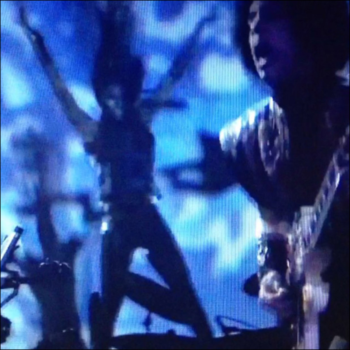 The guitar master and my flying braids during an EPIC performance of Something In The Water this weekend. #prince