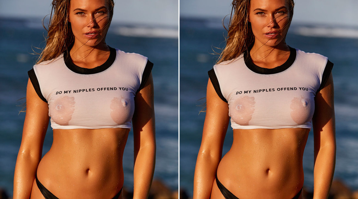 Samantha Hoopes Uses Provocative, Wet T-Shirt to Ask Fans a Very Important Question