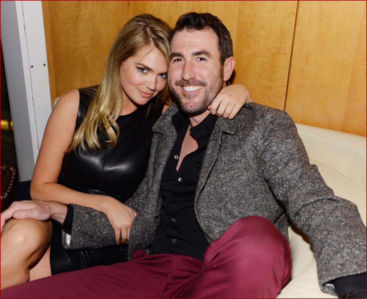 Kate Upton and Justin Verlander at the GQ Super Bowl party :: Getty Images for GQ