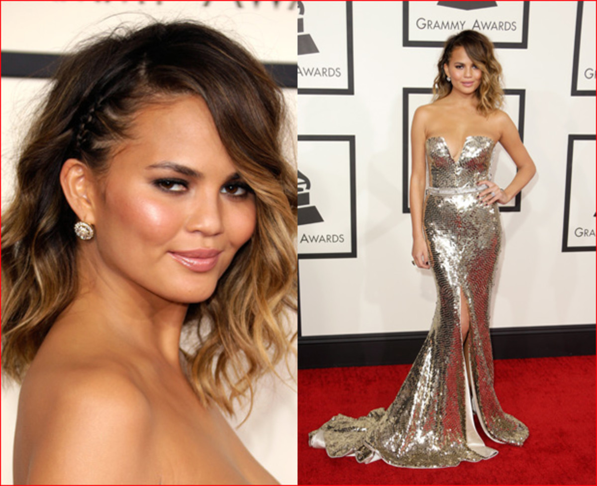Chrissy Teigen at the Grammys :: WireImage; FilmMagic