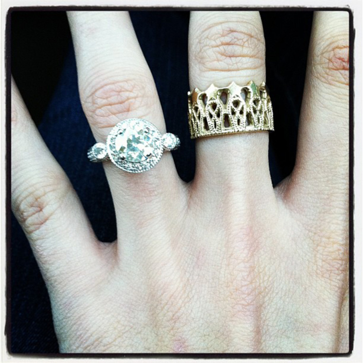 My 2 favorite pieces of jewelry in my collection- Gmas heirloom ring and my gold crown ring :)