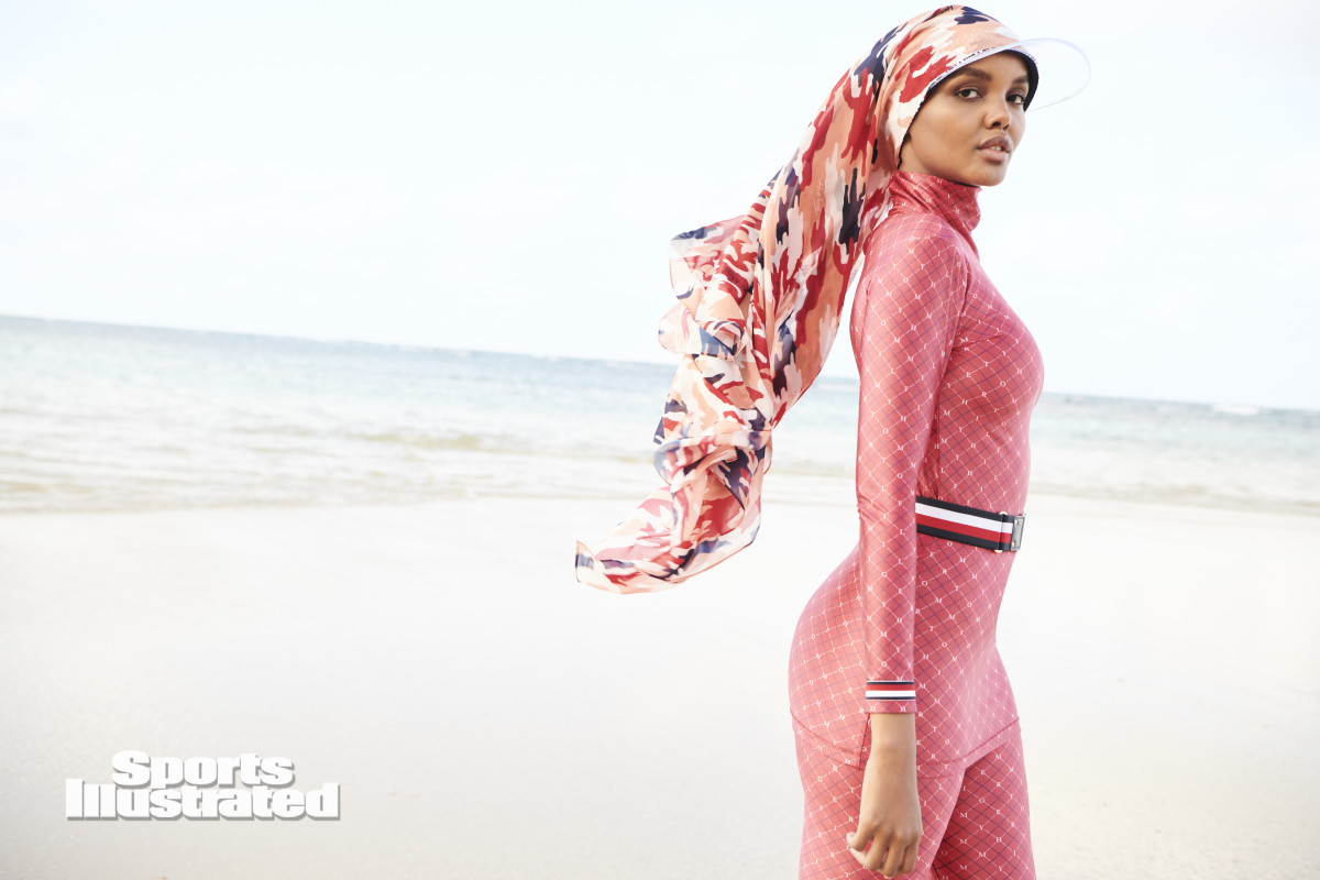 Halima Aden was shot by Kate Powers in the Dominican Republic. Burkini by Tommy Hilfiger.