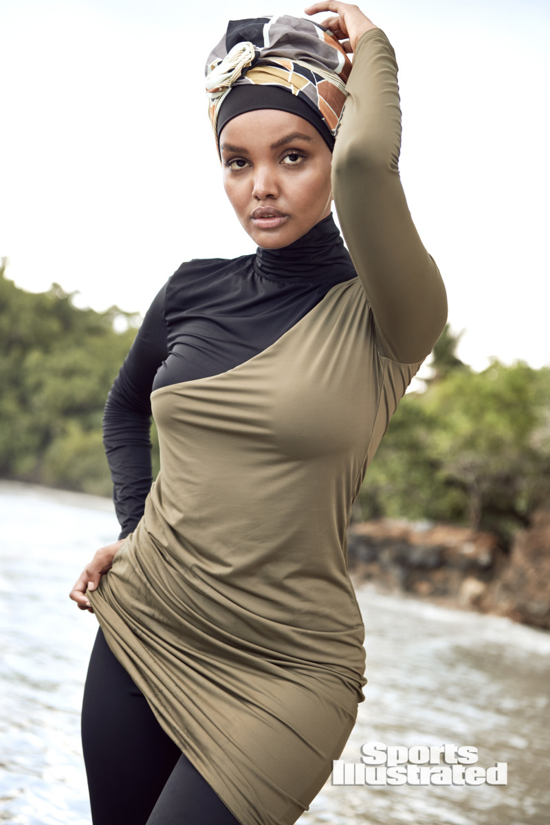 Halima Aden was photographed by Kate Powers in the Dominican Republic. Burkini by Myra Swim.