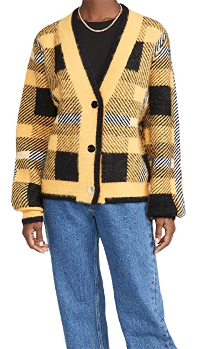 English factory plaid cardigan sweater