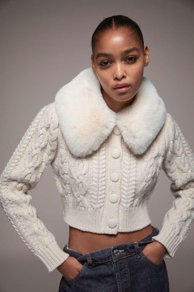 Zara faux fur cardigan