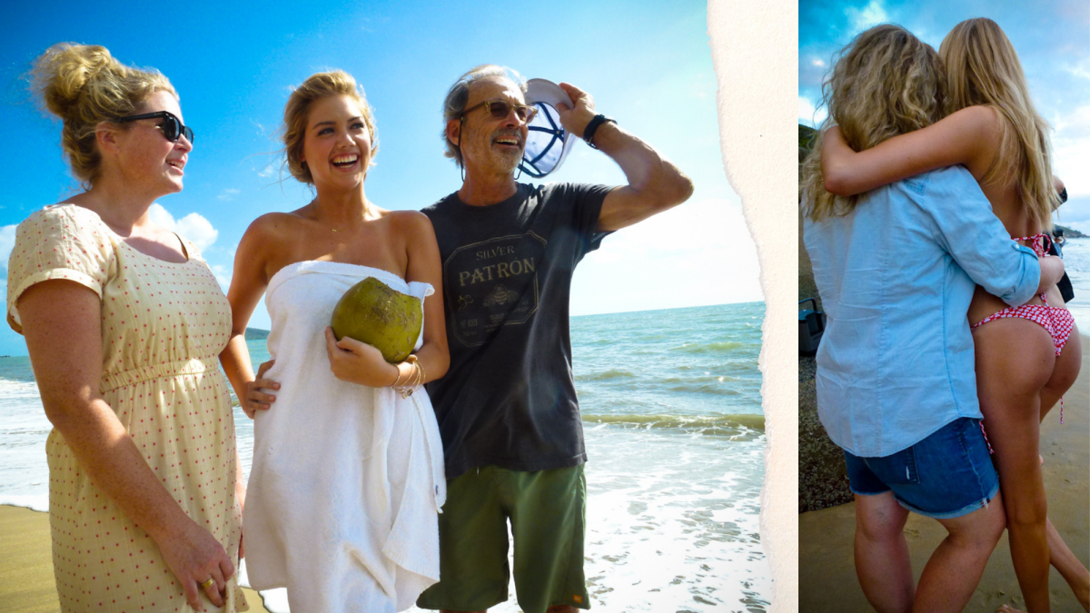 LEFT: MJ Day, Kate Upton and Walter Ioos Jr. after shooting Kate's 2012 cover in Australia. RIGHT: Kate Upton and MJ Day hugging on set.