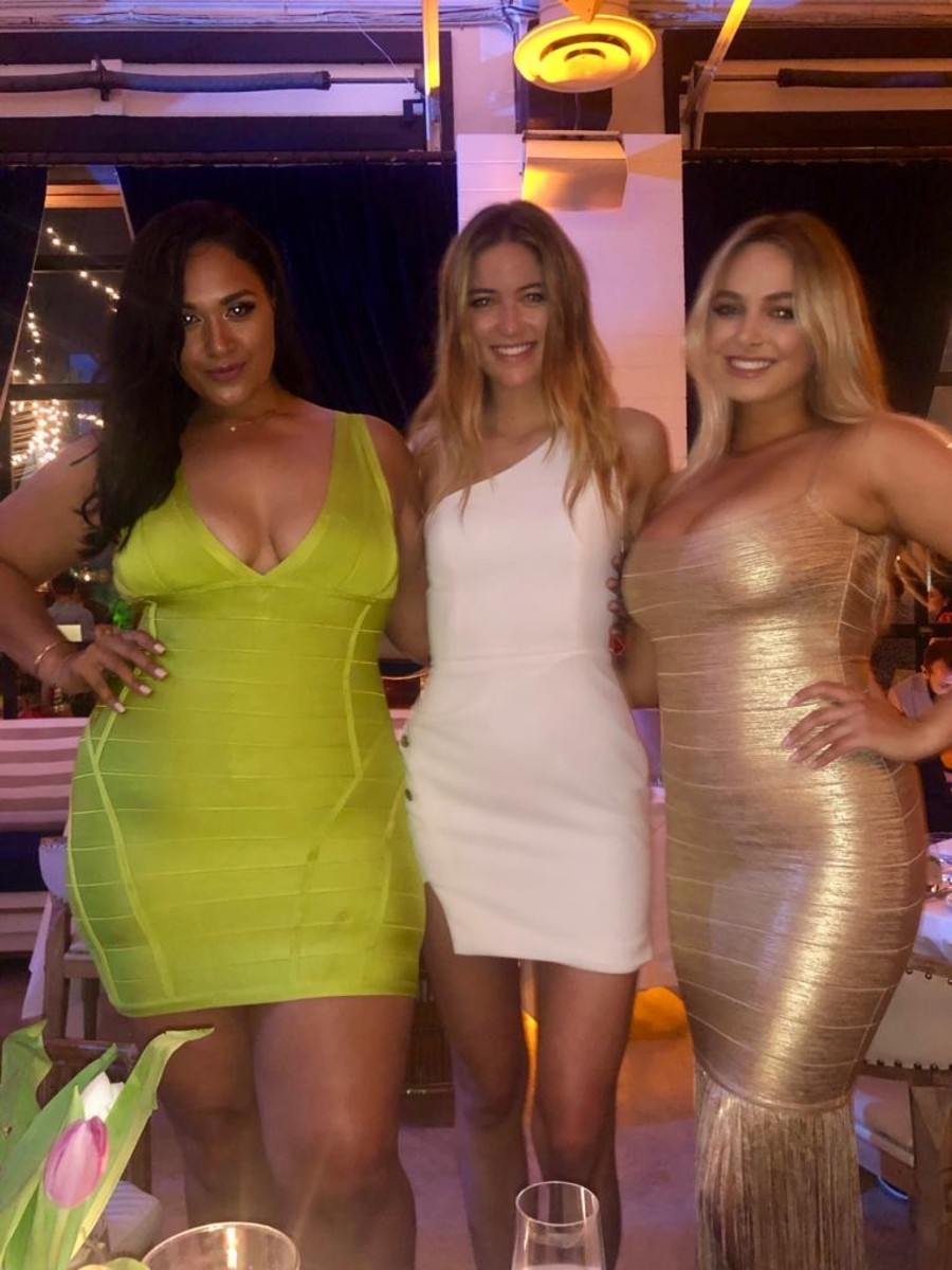 Margot Zamet (center) along with 2019 Model Search finalists Veronica Pomee (left) and Raine Michaels (right) at the launch of the 2019 magazine in Miami.