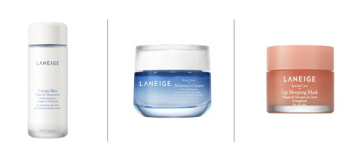 Laneige Cream Skin Toner & Moisturizer ($33), Water Bank Moisture Cream ($38), Lip Sleeping Mask ($20).