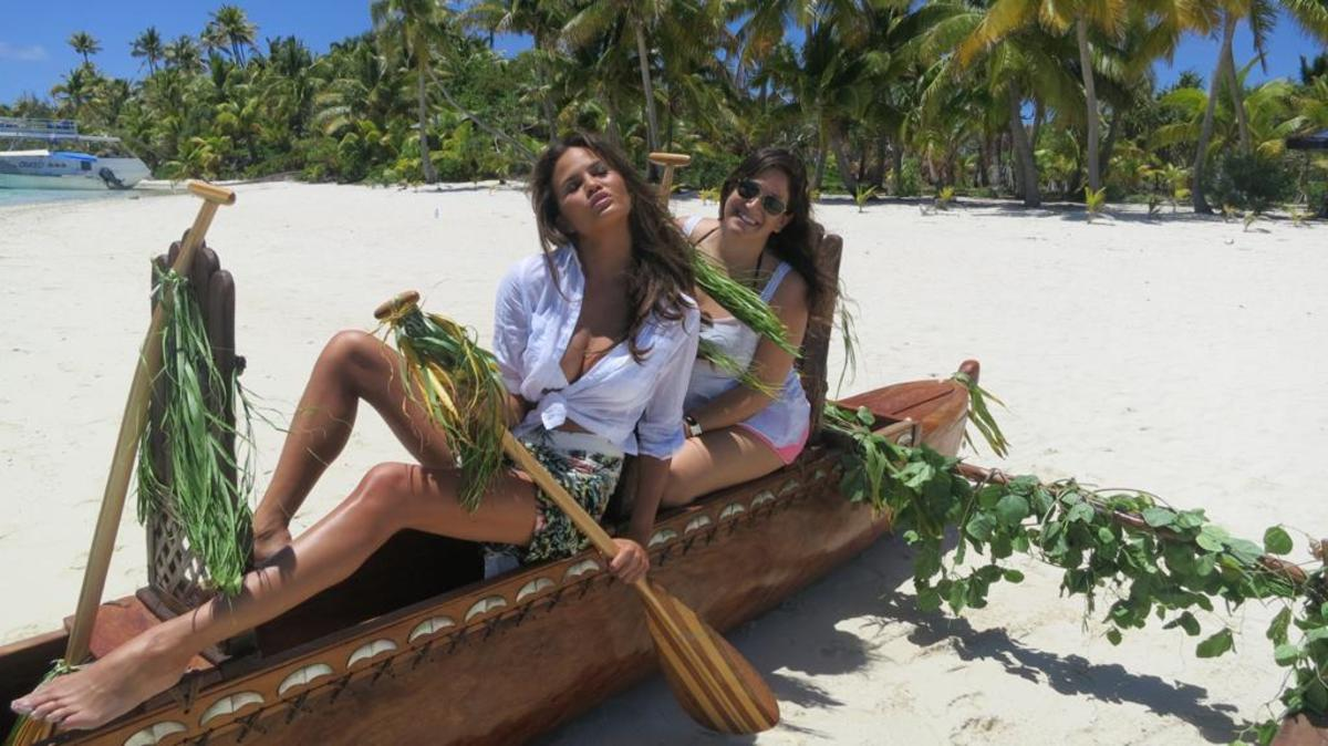 Chrissy Teigen and Hillary Drezner in the Cook Islands.