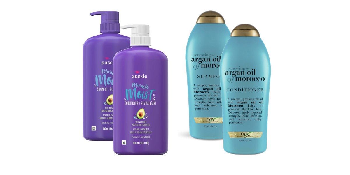 Images courtesy. Aussie Miracle Moist Shampoo, Aussie Miracle Moist Conditioner, OGX Renewing + Argan Oil of Morocco Shampoo, Argan Oil of Morocco Conditioner