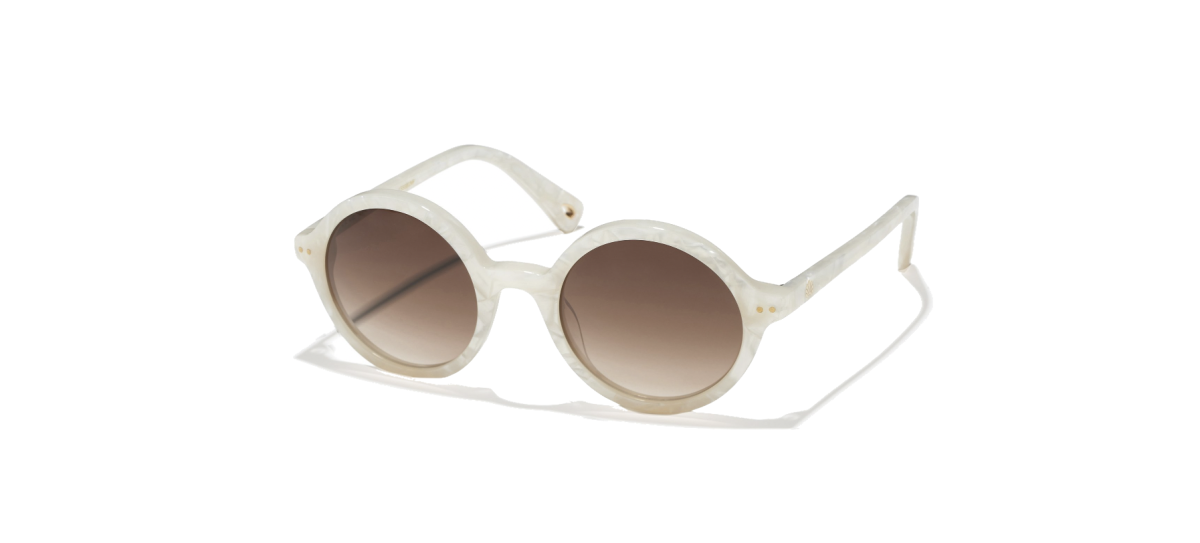 LeLe Sadoughi: Mother of Pearl East Village Round Sunglasses ($165)