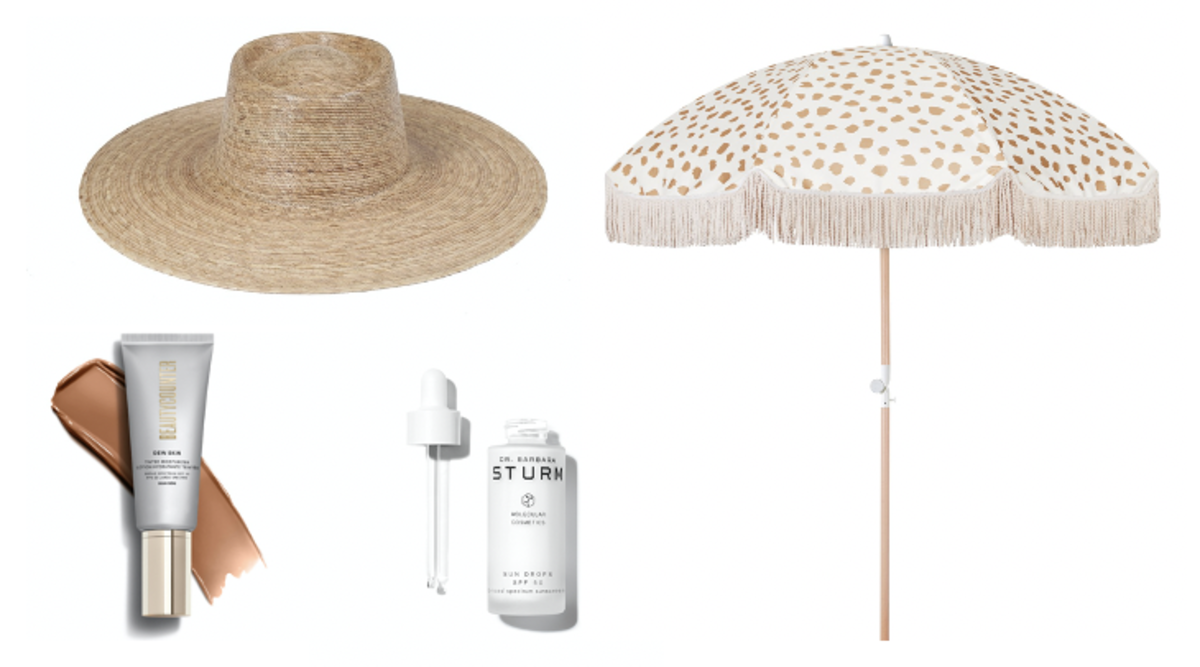 Images courtesy. Lack of Color hat ($129), Beautycounter Dew Skin Tinted Moisturizer ($45), Dr. Barbara Sturm ($145), Sunday Supply Co. Golden Sands Beach Umbrella ($249).