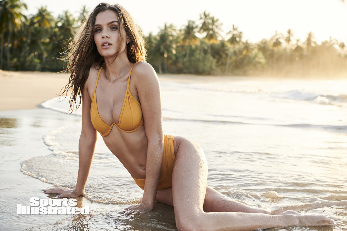Josephine Skriver was photographed by Kate Powers in the Dominican Republic. Swimsuit by Charmosa Swimwear by N Hall.