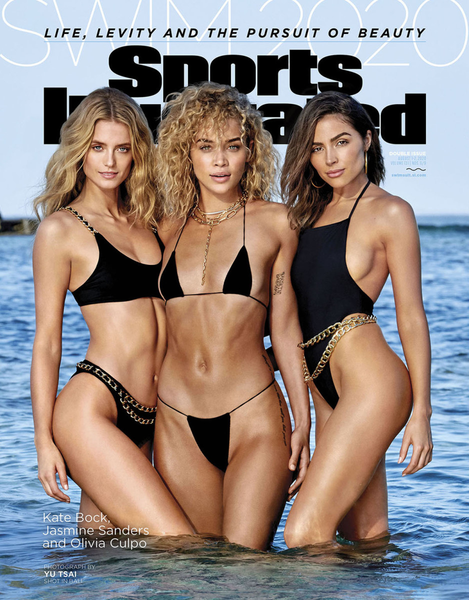Kate Bock, Jasmine Sanders and Olivia Culpo were photographed by Yu Tsai in Bali. Kate's Swimsuit by Andi Bagus. Jasmine's Swimsuit by Oh Polly. Olivia's Swimsuit by Rudi Gernreich.