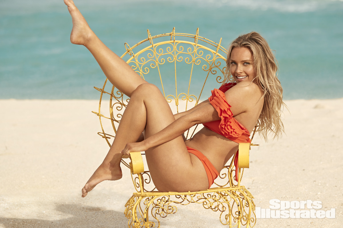 Camille Kostek photographed by Ben Watts in Hollywood, Fla. Swimsuit by Agua Bendita.