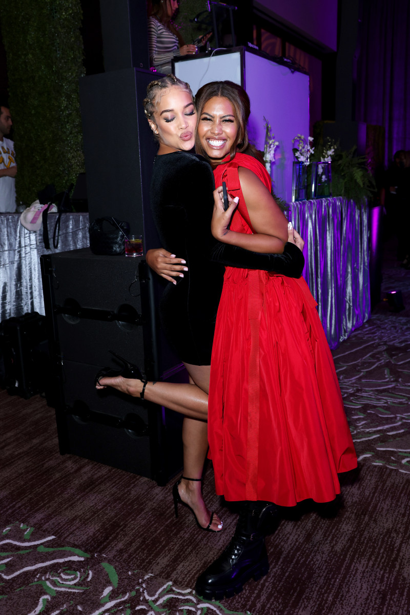 HOLLYWOOD, FLORIDA - JULY 23: Jasmine Sanders (L) and Leyna Bloom attend the Sports Illustrated Swimsuit celebration of the launch of the 2021 Issue at Seminole Hard Rock Hotel & Casino on July 23, 2021 in Hollywood, Florida.